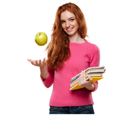 healthy girls with apple